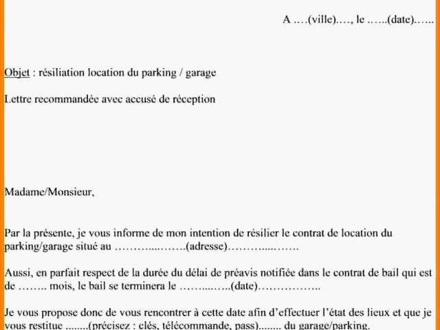 exemple de lettre de resiliation de bail 1 mois - Modele de lettre type