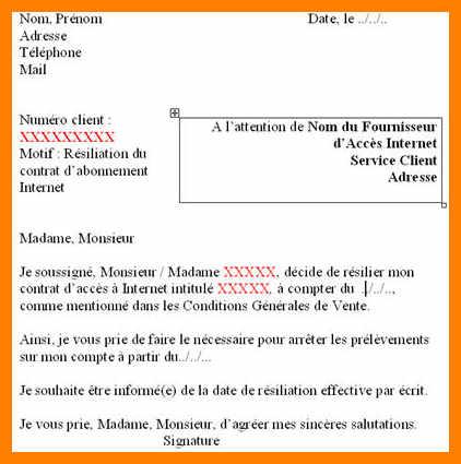 exemple de lettre de resiliation de contrat internet - Modele de lettre type