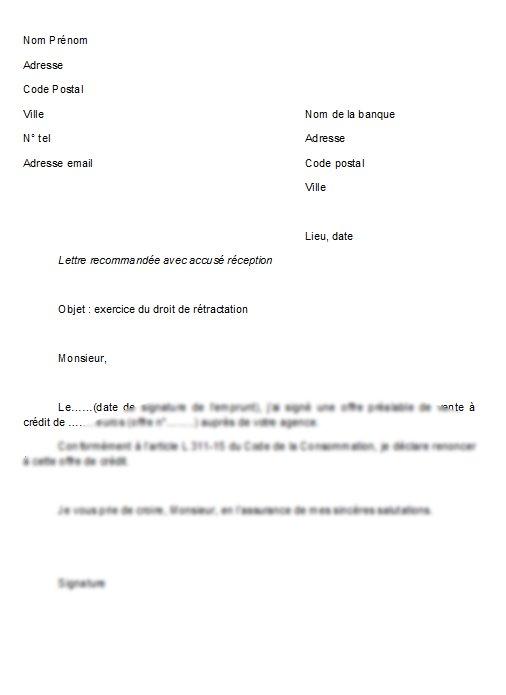 exemple de lettre de retractation