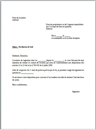 exemple lettre appartement