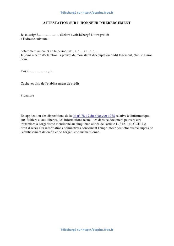 exemple lettre attestation sur l'honneur hebergement - Modele de lettre type