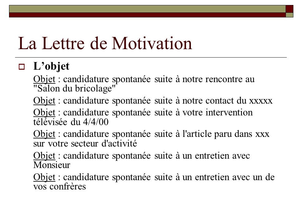 exemple mail relance candidature - Modele de lettre type