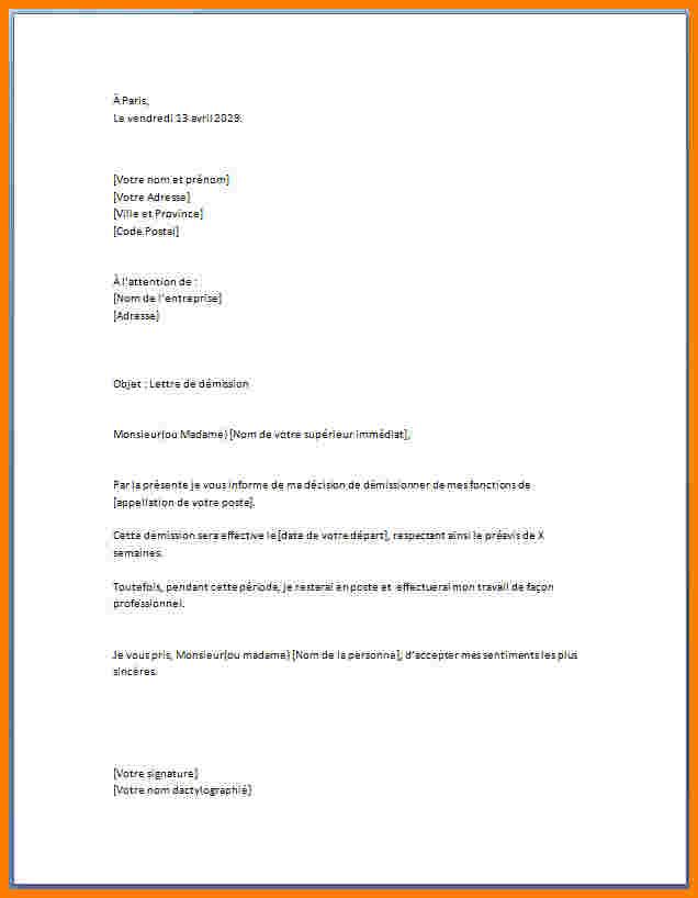 exemples de lettres de demission - Modele de lettre type