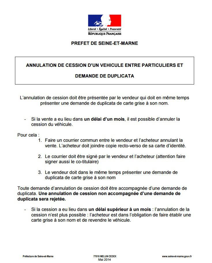 formulaire annulation de vente voiture - Modele de lettre type