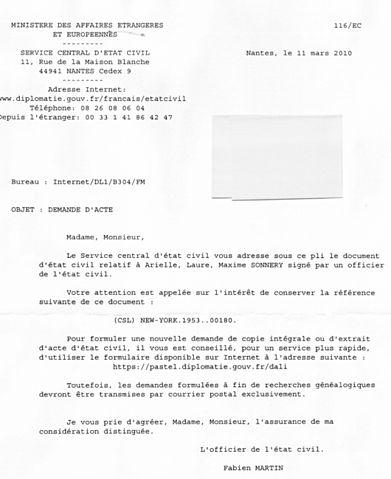 lettre acte de naissance - Modele de lettre type
