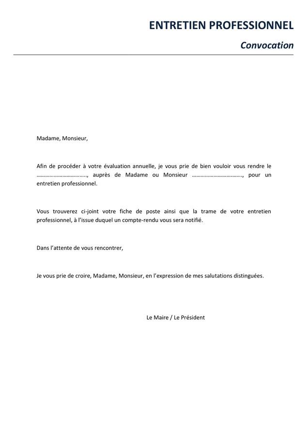 lettre convocation - Modele de lettre type