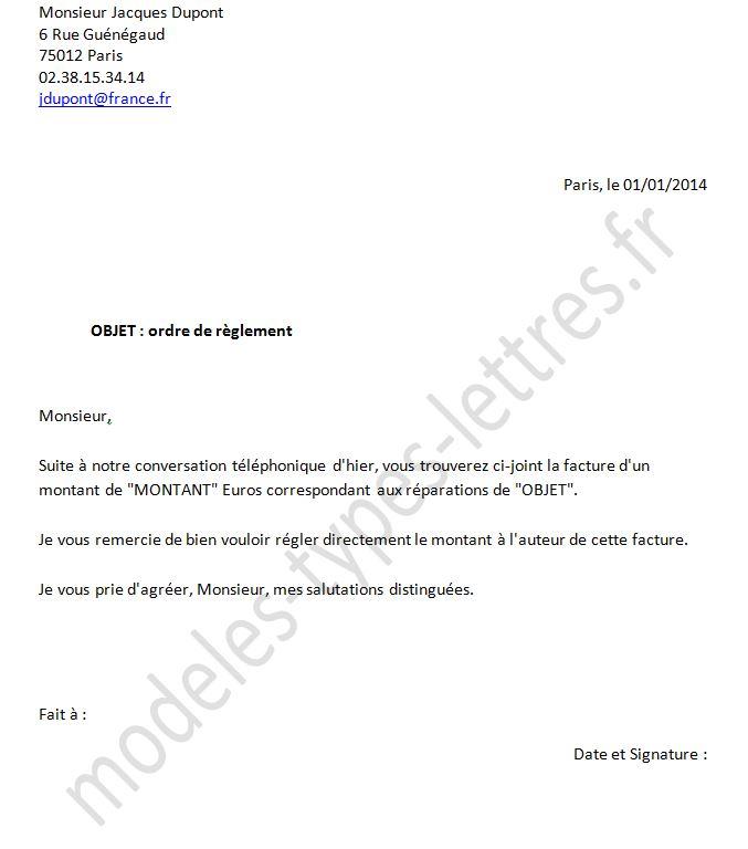 lettre d'assurance