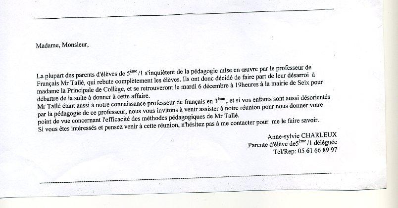 lettre d'excuse a un prof pour absence