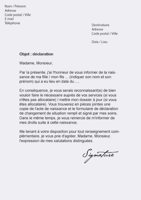 lettre de changement d'adresse exemple
