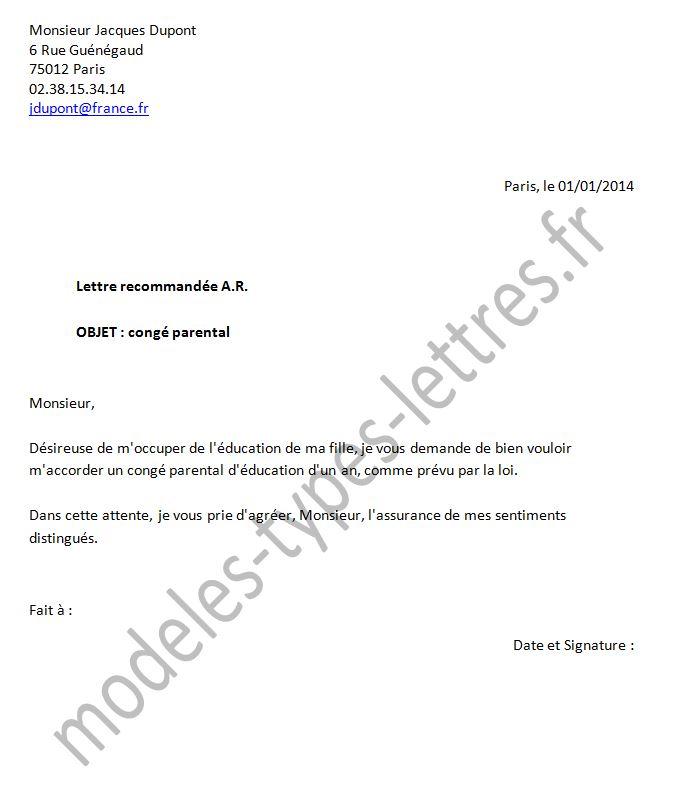 lettre de conge parental de 6 mois