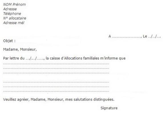 lettre de contestation caf - Modele de lettre type