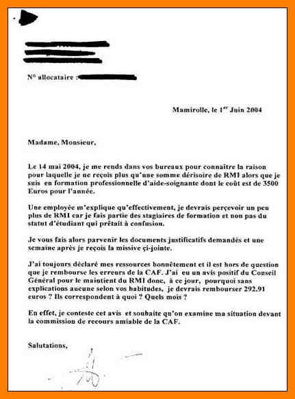 lettre de contestation caf