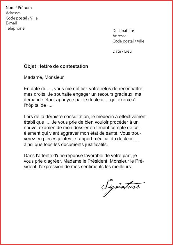 lettre de contestation facture hopital