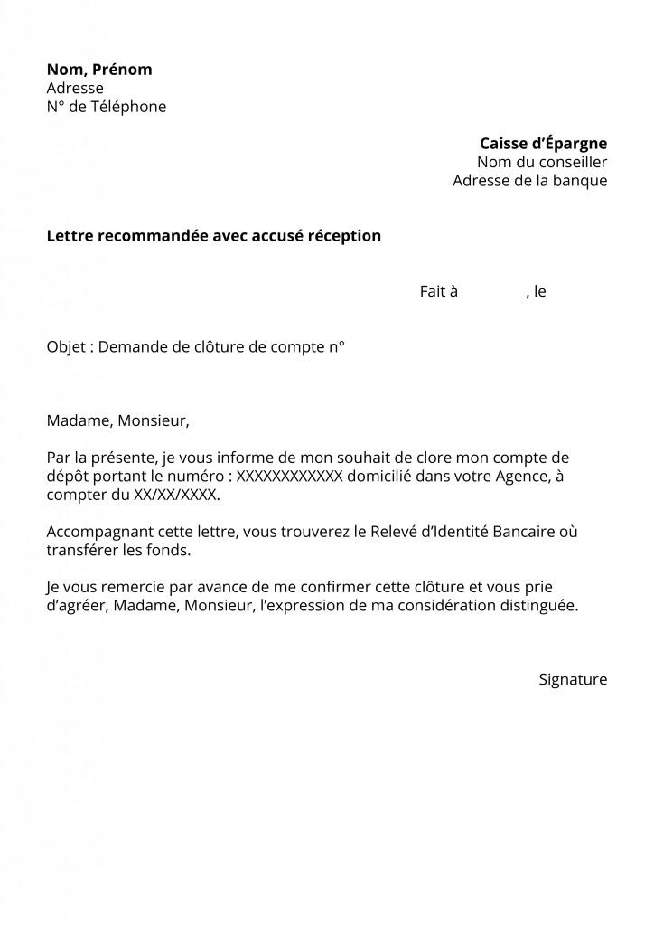 lettre de demande de cloture de compte - Modele de lettre type