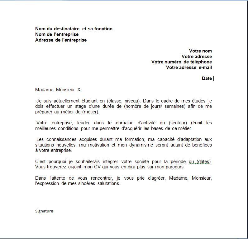 lettre de demande de stage gratuit