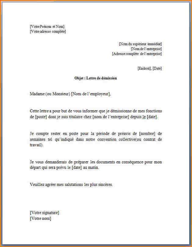 lettre de demission cdi preavis negocie - Modele de lettre ...