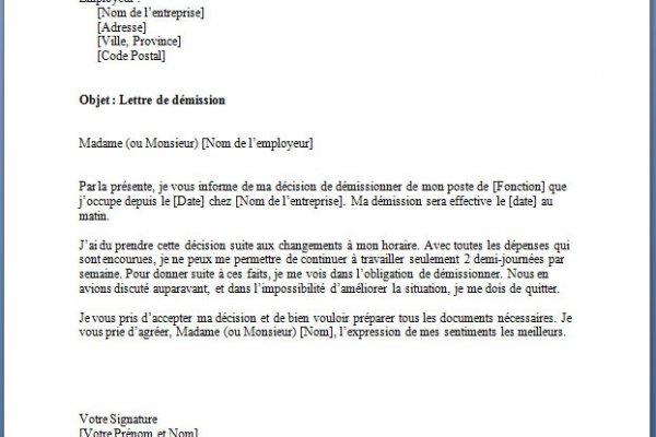 lettre de demission cdi remise en main propre - Modele de lettre type