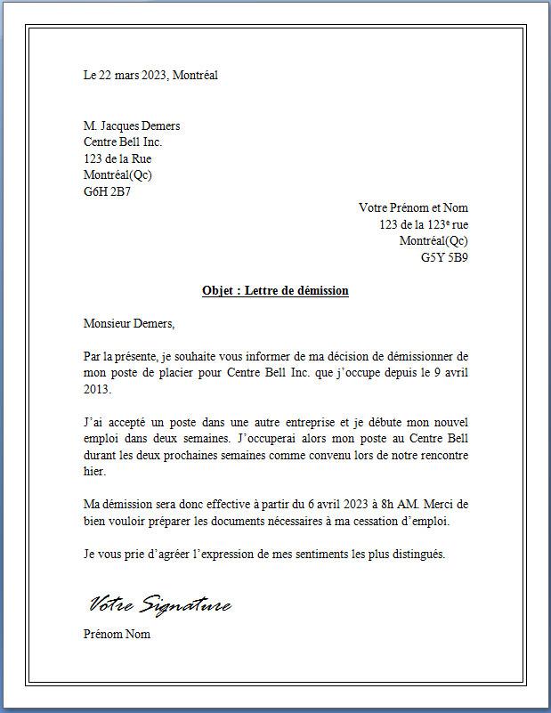 lettre de demission d un cae - Modele de lettre type