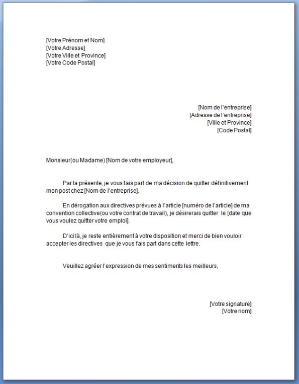 lettre de demission d'un cdd - Modele de lettre type