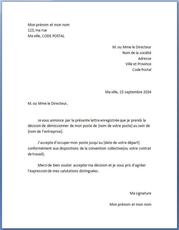 lettre de demission de travail