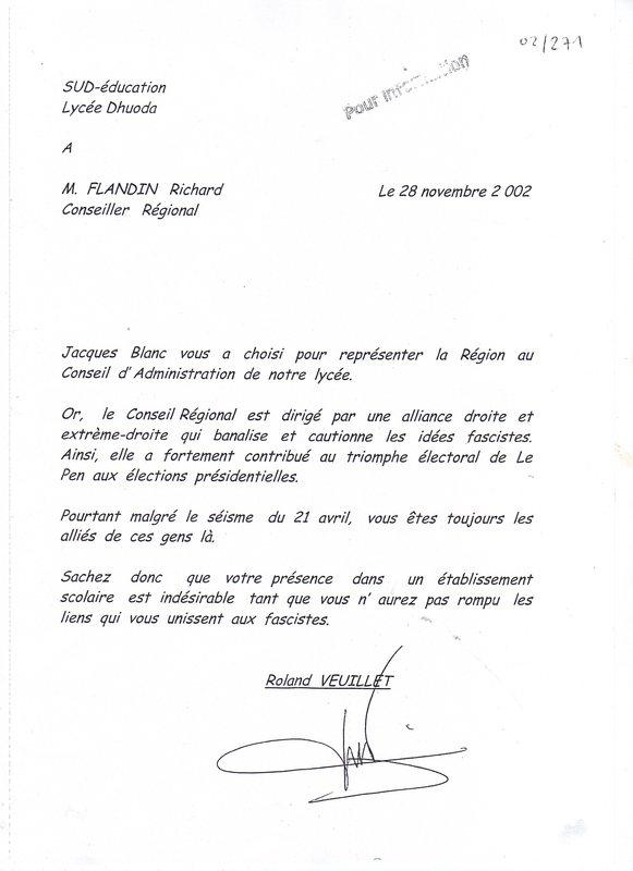 lettre de demission lycee changement de lycee