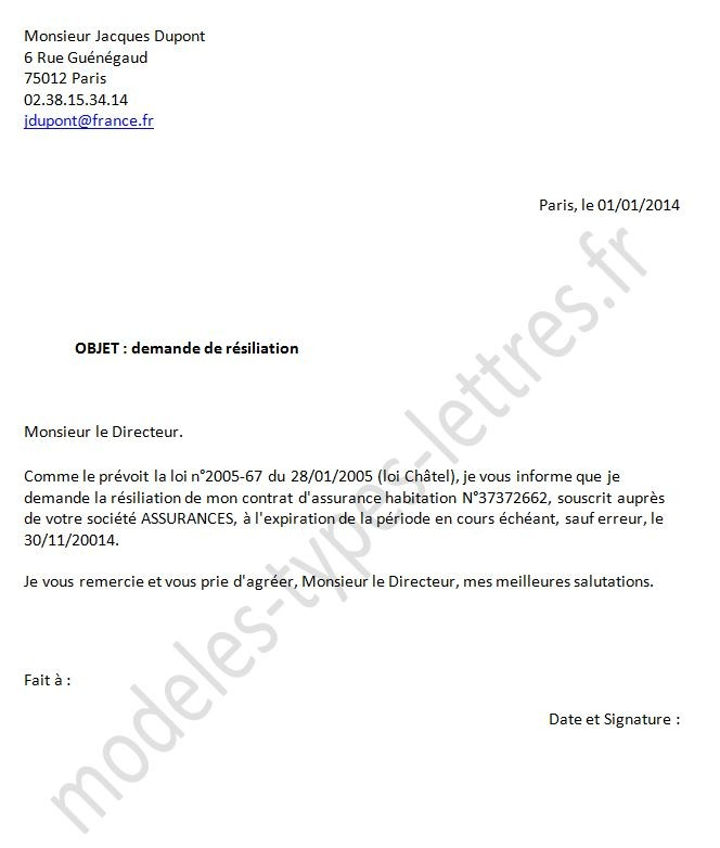 lettre de denonciation d un contrat