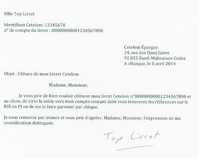 lettre de fermeture