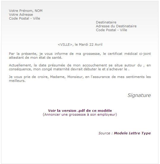 lettre de grossesse