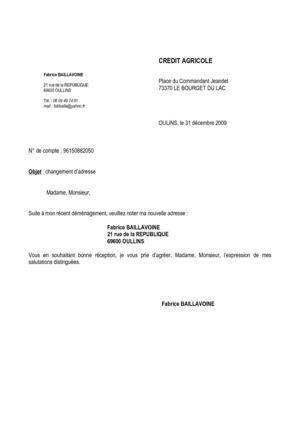 lettre de modification d'adresse - Modele de lettre type