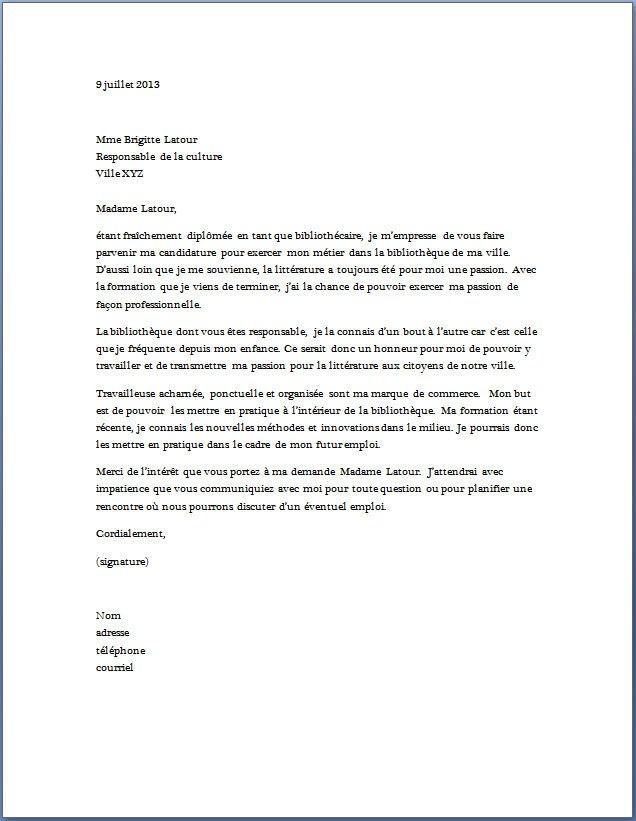 lettre de motivation bibliothecaire sans experience ...