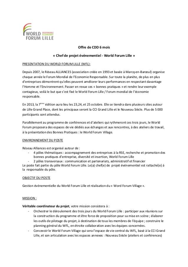 lettre de motivation charge de projet