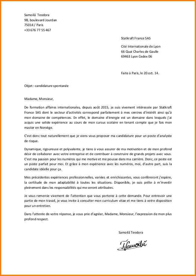 lettre de motivation exemple gratuit candidature spontanee
