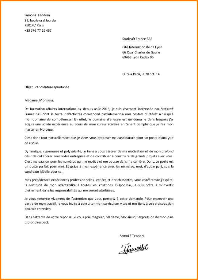 lettre de motivation gratuite candidature spontanee ...
