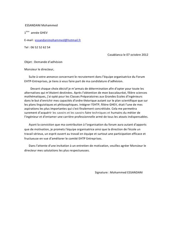 lettre de motivation gratuite demande de stage - Modele de ...