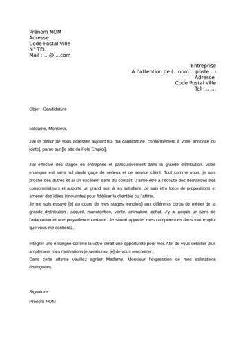 lettre de motivation leclerc sans experience - Modele de ...