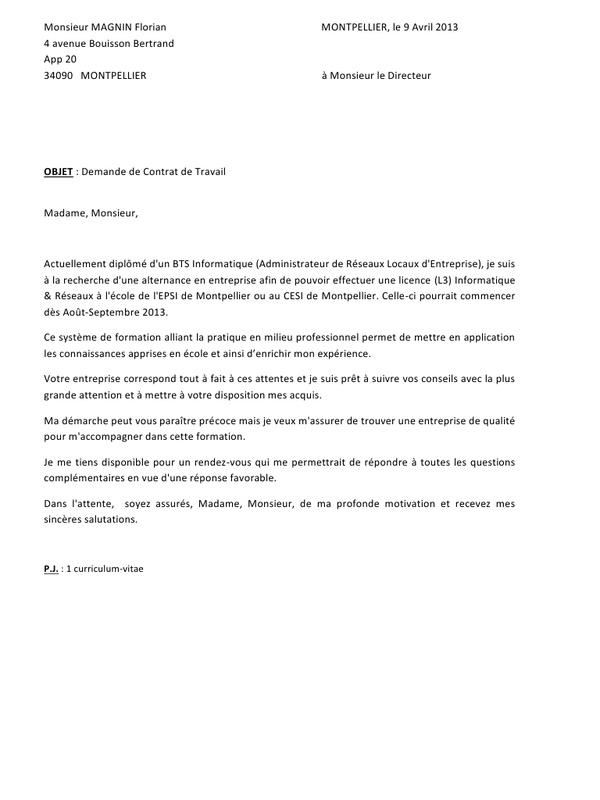 lettre de motivation licence informatique - Modele de ...