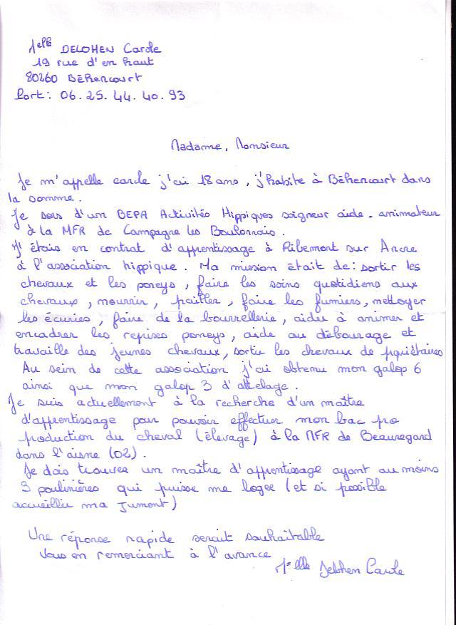 lettre de motivation maitre de stage - Modele de lettre type
