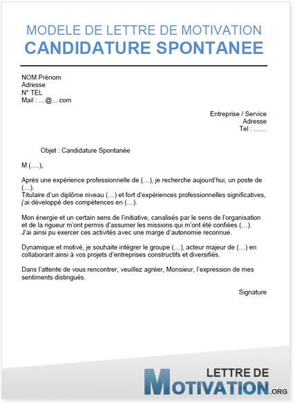 lettre de motivation pour candidature spontanee vendeuse ...