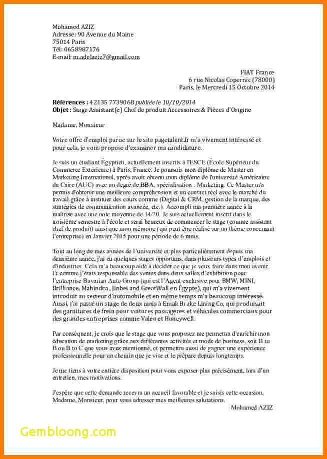 lettre de motivation pour les master - Modele de lettre type