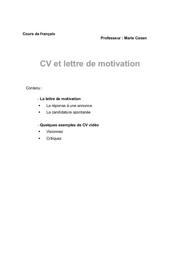 lettre de motivation reponse annonce