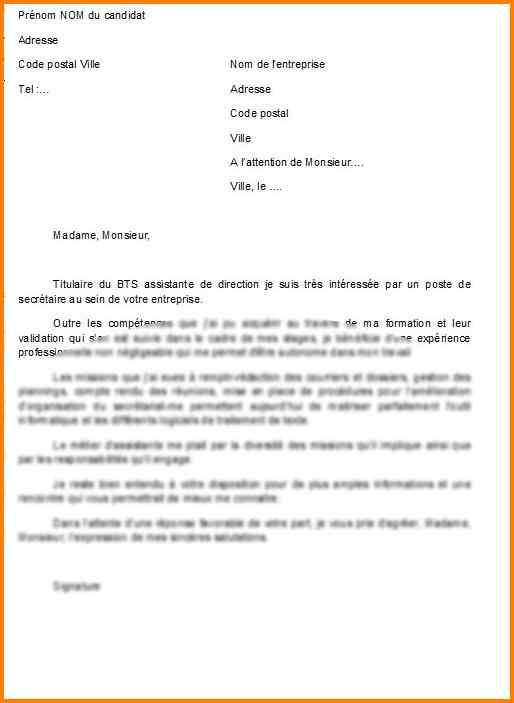 lettre de motivation secretaire candidature spontanee - Modele de lettre type