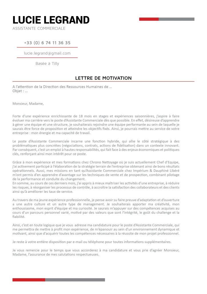 lettre de motivation stage assistante de direction