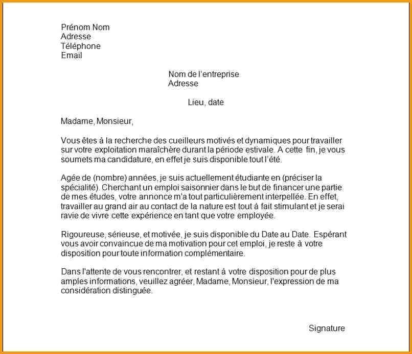 lettre de motivation vendange
