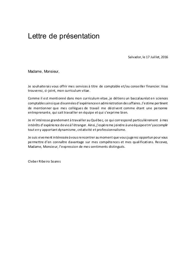 lettre de presentation comptable - Modele de lettre type