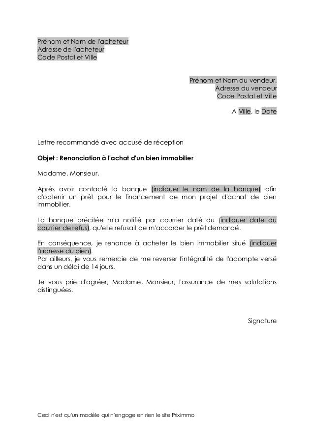 lettre de pret bancaire - Modele de lettre type