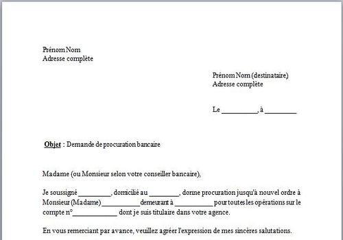 lettre de procuration pour la banque