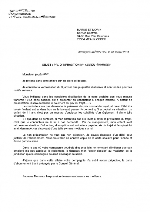 lettre de reclamation pour une amende
