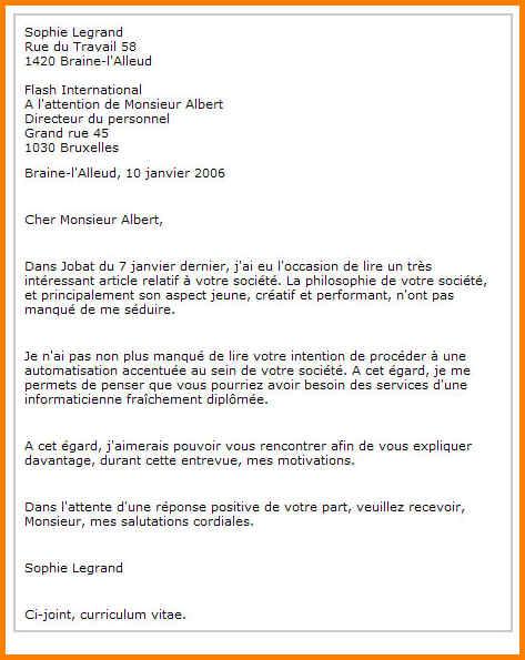 lettre de refus candidature
