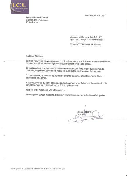 lettre de refus de credit - Modele de lettre type