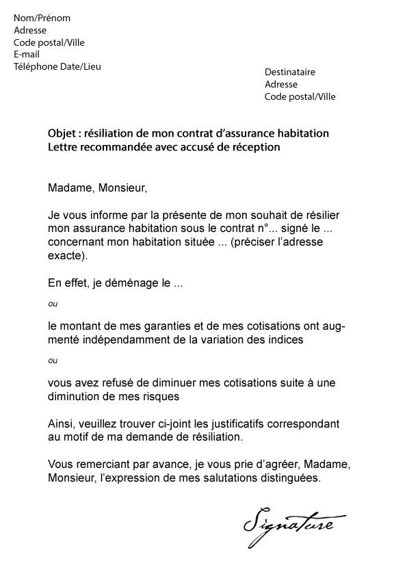 lettre de renonciation assurance habitation